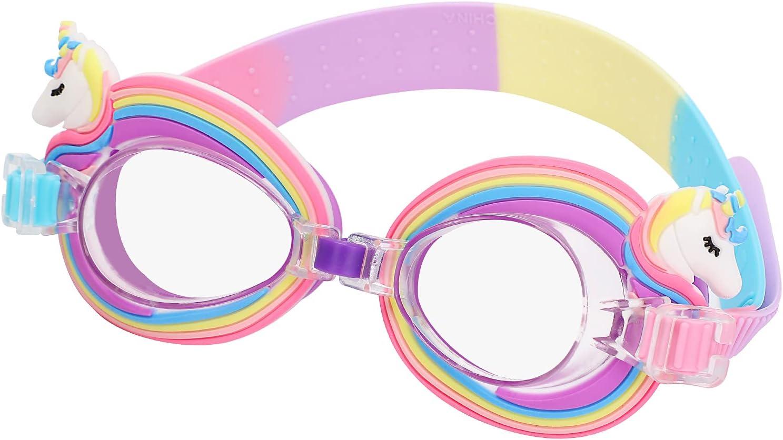 Gafas de Natación Protección UV Antiniebla Gafas para Nadar Antigoteo Unicornio Gafas de Natación Infantil para Niñas Niños
