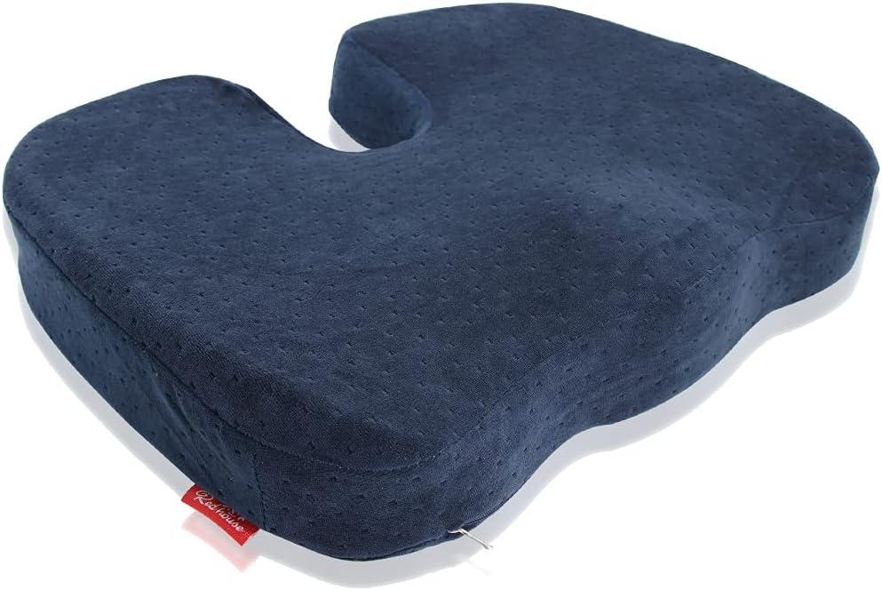 Cojín viscoelástico para asiento, Cojín Ortopédico de Espuma Viscoelástica Cojín Hemorroides Antideslizante con Funda, Cojin Coxis para Silla para la Oficina, Coche, Silla de Ruedas(Azul oscuro)