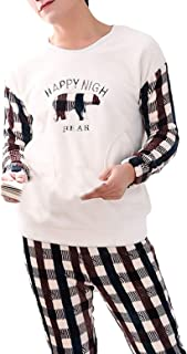 Men's Sleepwear Winter Long Sleeve Round Neck Thicken Warm Comfortable Sizes Coral Fleece Pajamas Pajamas Casual Fashion L...