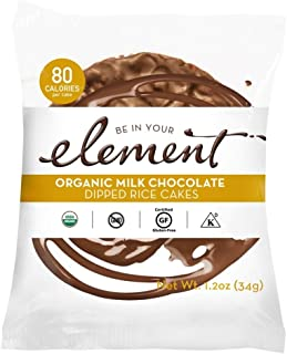 ELEMENT, Rice Cake, Og2, Milk Choc, Pack of 8, Size 1.2 OZ, (Low Carb Gluten Free Kosher Low Sodium Vegan Wheat Free Yeast Free 95%+ Organic)
