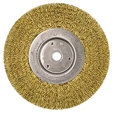 "Weiler 01475 Narrow Face Crimped Wire Wheel, 6"", 0.0118"" Brass Fill, 5/8""-1/2"" Arbor Hole Pack of 2"