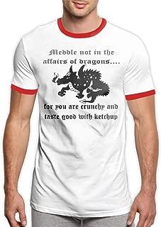 MiiyarHome Men's Ringer T-Shirt Ketchup, Men Short Sleeves Jersey Causal Tee Black