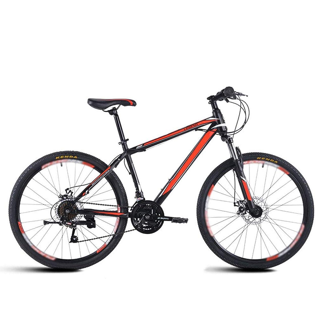 まばたき心のこもったスカルクマウンテンバイク 24/26 インチ 高炭素鋼フレームクロスバイク 21段変速 ダブルディスクブレーキ 大人の男性と女性の十代の若者 MTB 自転車