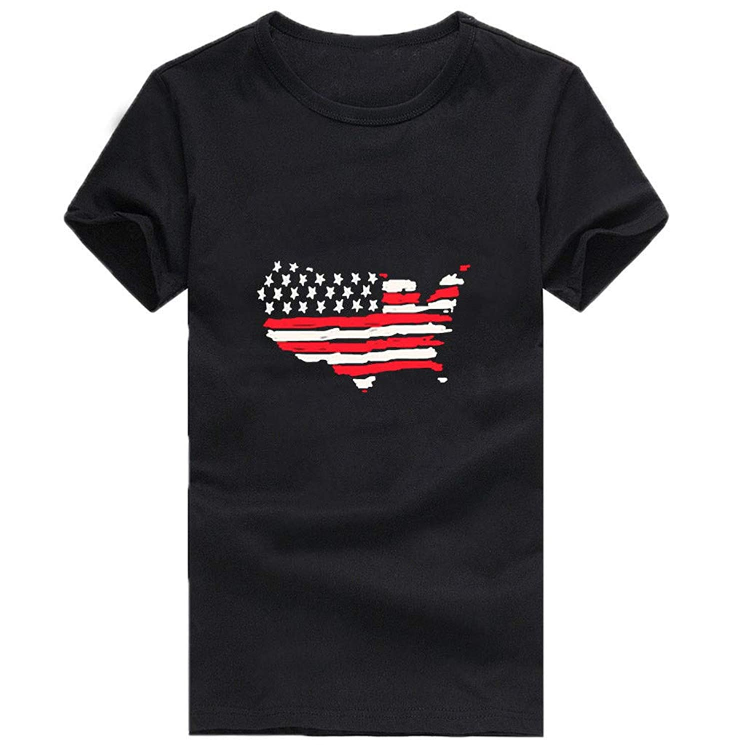 Respctful? Women Summer American Flag Top Short Sleeve Round Neck Blouse Casual Loose Tops T-Shirt