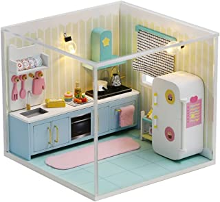 Dollhouse Miniature with Furniture, DIY Wooden Dollhouse Kit with Dust Proof Cover and LED Lights, Creative Room Castle To...