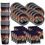 Motorcycle Biker Birthday Party Supplies Set Plates Napkins Cups Tableware Kit for 16