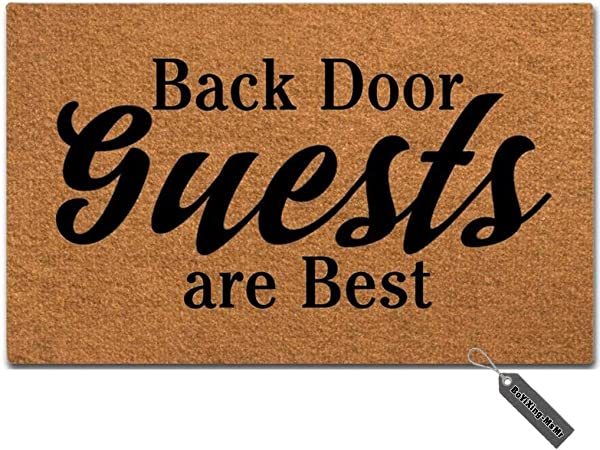 MsMr Doormat Funny Doormat Back Door Guests Are Best Creative Designed Door Mat Entrance Floor Mat For Indoor Outdoor Non Woven 23 6 X15 7