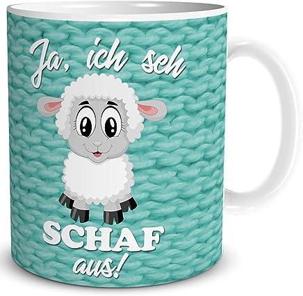 Preisvergleich für Tasse mit Schaf und lustiger Spruch - Ich Sehe Schaf aus - Geburtstag Geschenk für Frauen Freundin Kollegin Arbeit Büro, Weiß Türkis