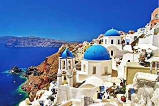 Jigsaw Puzzles 1000 Pieces Puzzles for Adults Dreamy Aegean Sea Greece Santorini Landscape Puzzle 30 x 20 inch for Family ...