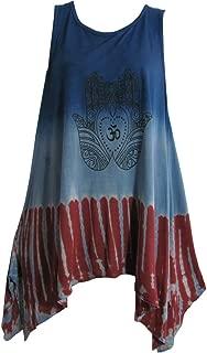 Indian Art Henna Om Yoga Spandex Tie-Dye T-Shirt Tank Top Cami Blue/Wine
