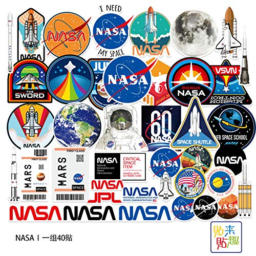 ZXXC 40 Uds Pegatinas de Equipaje de exploración Espacial de la NASA, Pegatinas Personalizadas para Tableta y Ordenador, Pegatinas para Casco de Motocicleta, monopatín, Impermeables
