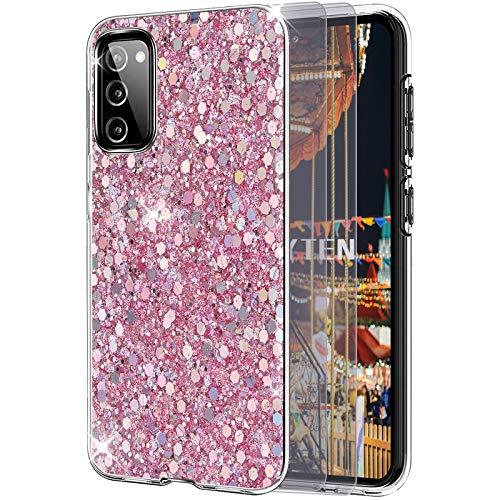 Feyten Coque pour Galaxy S20 FE 5G   4G avec Film de Protection écran [Lot de 2],Mince Brillant Bling Paillettes Anti-Rayures TPU Silicone Souple Housse pour Samsung Galaxy S20 FE 5G   4G (Rose)