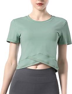 DREAM SLIM Women Crop Tops Long Sleeve Open Back Yoga Running Shirts Gym Workout Tank Tops