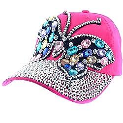 Butterfly Design Bling Womens Baseball Hot Pink Cap