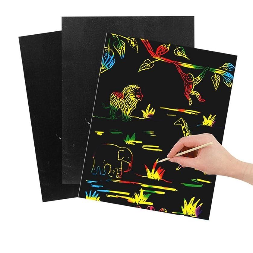 OSOPOLA Scratch Art Magic Paper Rainbow Colors Children Artcrafts 10-Sheet