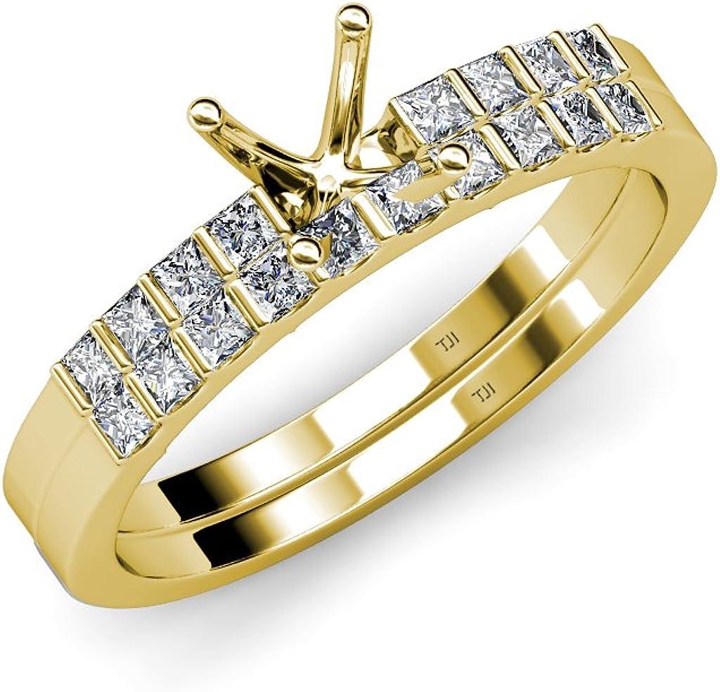 TriJewels Diamond Princess Los Angeles Mall Fees free Cut Bridal Set Ring Mount With Semi