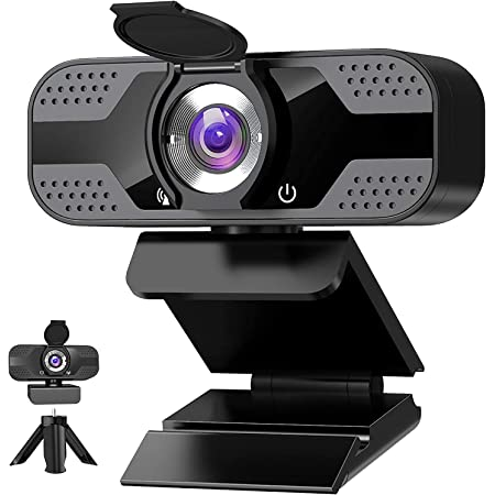Webcam with Microphone for Desktop, 1080P HD USB Computer Cameras with Privacy Cover&Webcam Tripod, Streaming Webcam with Flexible Rotatable Wide Angle Webcam for PC Zoom Video/Gaming/Laptop/Skype