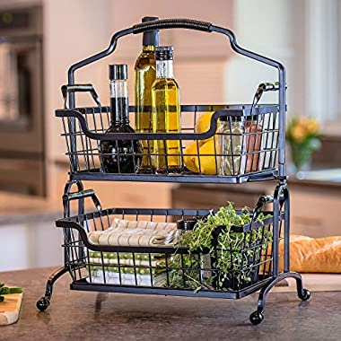 Two-Tier Brushed Wrought-Iron Basket With Arched Handle
