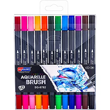 Colored Pens Acrylic Markers Fine Liner Drawing Pens Ddual Tip Assorted Colors Brush Pen Adult Kids Coloring Journal Notes Rock Watercolor Painting Stone Ceramic Glass Wood Canvas School Supplies