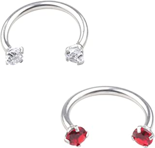 RJ 16G Surgical Stainless 3mm Cubic Zirconia Gem Horseshoe Hoop Captive Ring for Nose Daith Lip Eyebrow Nipple Ear Cartilage Helix Septum 10mm 2-3pcs