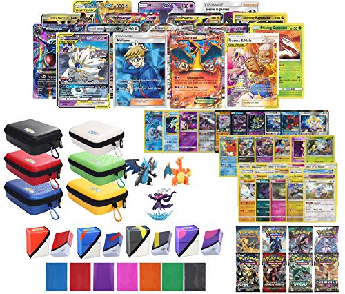 Totem World Pokemon Premium Collection 100 Cards with Tag Team GX Mega EX Trainer or Shining Holo, 10 Rares, 4 Booster Packs, 100 Protector Sleeves, Card Case, Deck Box and Figure
