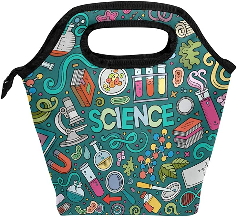 ALAZA Insulated Lunch Bag Freezable Lunch Box For Kids Women Girls Boys And Men Educational Science Items Cooler Portable Zipper Lunch Bag Tote For Work School Picnic