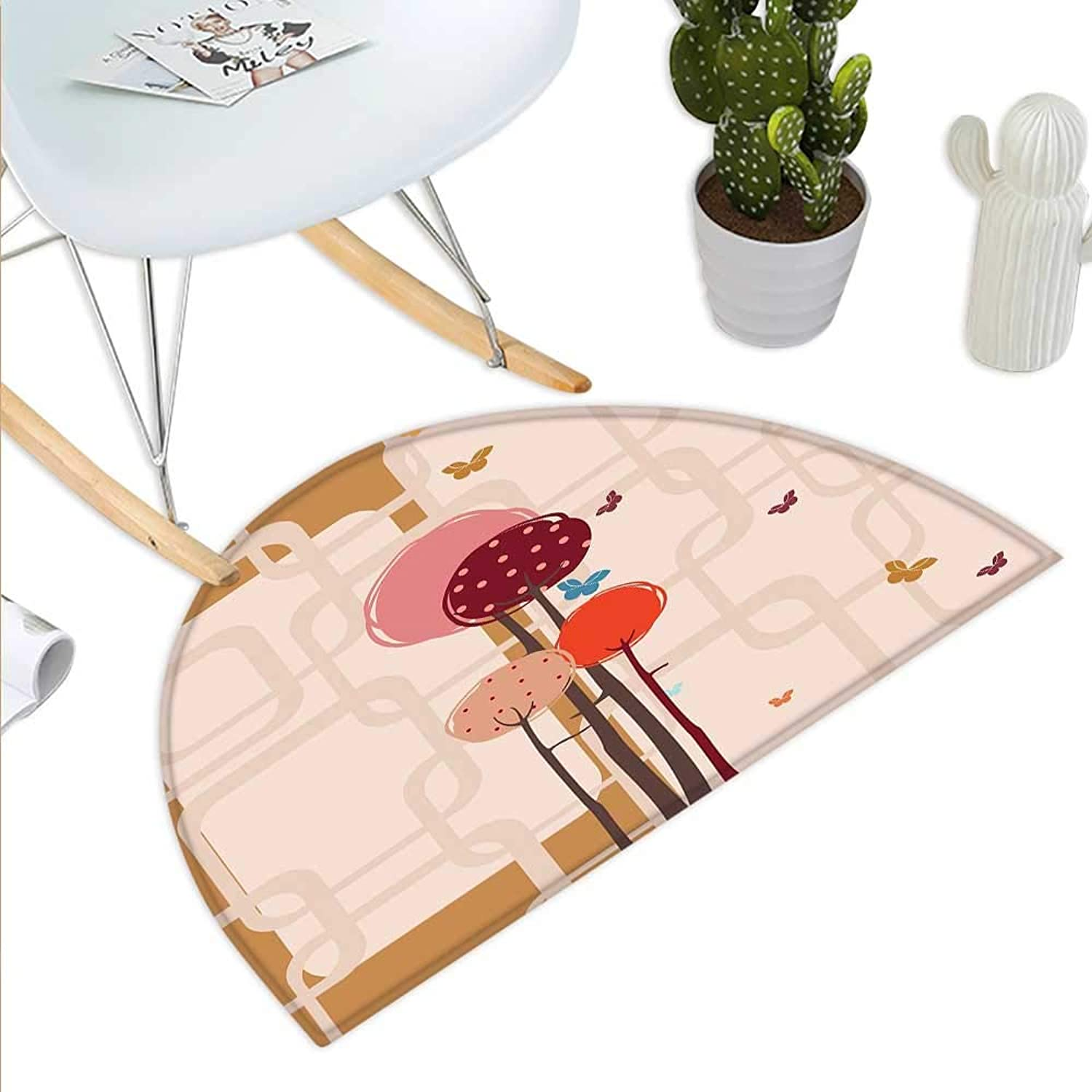 Retro Semicircle Doormat colorful Trees and Butterflies Round Edged Squares Funky Spring Halfmoon doormats H 35.4  xD 53.1  Ruby Dried pink Amber Scarlet