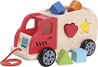 New Classic Toys 2042936 Träsorterare lastbil med 6-formade block-pedagogisk uppfattning leksak för förskoleålder småbarn ...