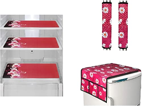 Goel Home Decor Make in India Exclusive Decorative Kitchen Combo Fridge Top Cover Pink Flower 2 Handle Covers Pink Flower 3 Fridge Mats 6 Piece Set Red Mat