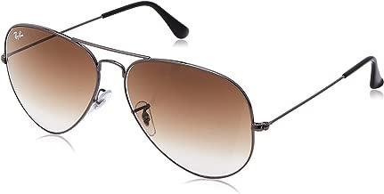 RAY-BAN RB3025 Aviator Large Metal Sunglasses, Gunmetal/Brown Gradient, 62 mm