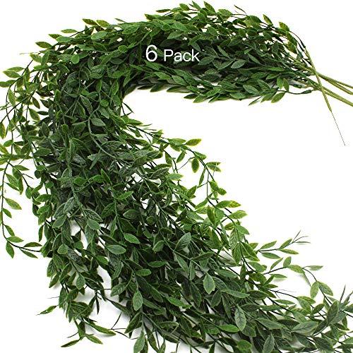 JaneYi 6 Stück Künstliche Efeugirlande Grüne Blätter Plastiklaub Efeu Anlage Gefälschte Trauerweide Rebe Künstliche Nachgestellte Pflanze Hängend für Innen Draußen Haus Büro Garten Mauer Spalier Dekor