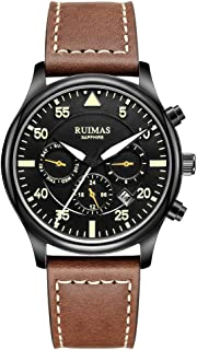 RUIMAS Men Chronograph Automatic Mechanical Watches Business Sapphire Glass Crystal Luminous Military Wristwatch with Genuine Leather Strap (Seagull)