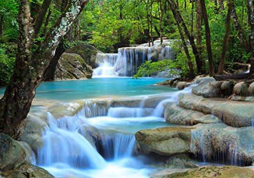 wandmotiv24 Fototapete Wasserfall im Wald XL 350 x 245 cm - 7 Teile Fototapeten, Wandbild, Motivtapeten, Vlies-Tapeten Natur, Wasser, Bach M0485