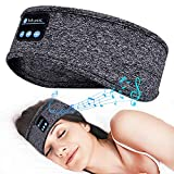 Sleep Headphone Bluetooth Headband Work Out Headphones with Microphone Wireless Running Headphone Eye Mask Side Sleeper Friendly (Grey)