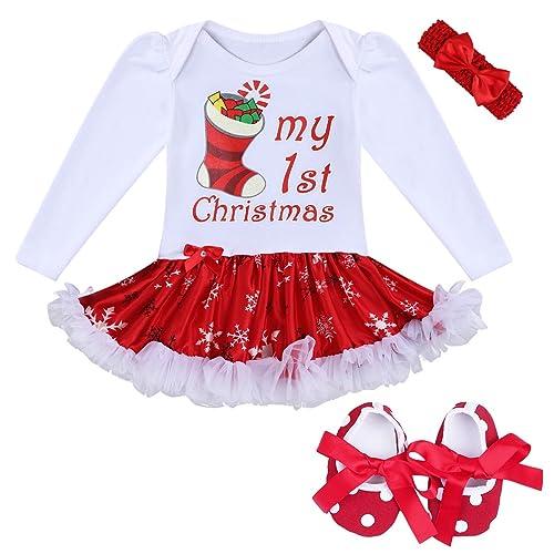 Sixcup  4PCS Newborn Infant Babies Girls My First Christmas Outfits Tutu Princess Romper Maching with Headband My 1st Christmas Costume Tutu Romper Headband Outfit Set