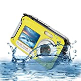 MARVUE HDV-801 Underwater Shockproof Digital 24MP Camera & Camcorder Dual Full-Color LCD Displays FHD 1080p Free-casing Self Timer Photo Video Recorder Rechargeable Battery