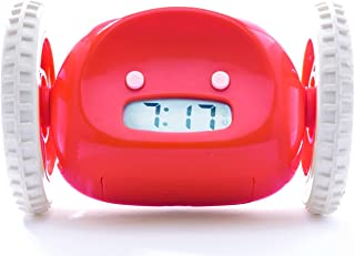 Clocky, the Original Runaway Alarm Clock on Wheels (Loud for Heavy Sleepers, Fun Rolling Moving Clock), Red