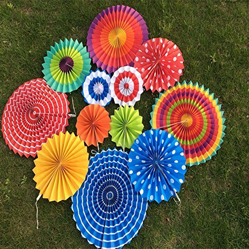 X-Sunshine Outdoor Indoor 12pcs Mixed Colors & SizesRound Folding Hanging Paper Fan Fiesta Wedding Birthday Kids Party Supplies for Christmas Tree Home Decoration, Party, Wedding (Colorful-3)