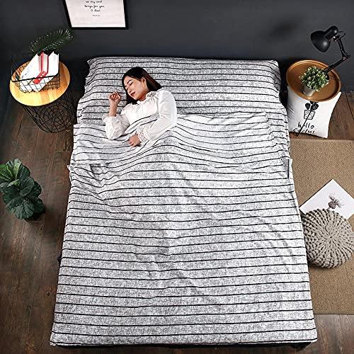 weyb Funda de Ropa de Cama Saco de Dormir a Prueba de Suciedad Saco de Dormir de algodón Lavado Saco de Dormir de Viaje Hotel Hotel para Adultos Viajes Individual Doble portátil Anti-su D(160/215cm)