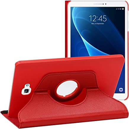 ebestStar - Compatible Coque Samsung Galaxy Tab A6 A 10.1 (2018, 2016) T580 T585 Housse Protection Etui PU Cuir Support Rotatif 360, Rouge [Appareil: 254.2 x 155.3 x 8.2mm, 10.1'']