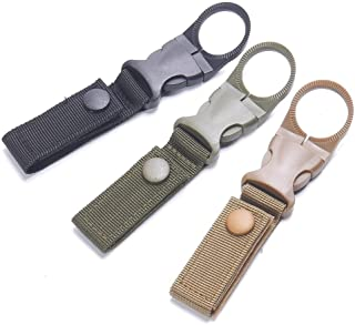 maxgoods Nylon Tactical Outdoor Gear Clip Band,Carabiner Water Bottle Buckle Hook Holder Keychain Belt Webbing Strap for Hiking Camping,Pack of 3