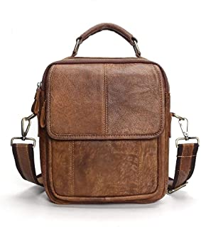 Leather Bag Mens Men's Shoulder Bags Business Portable Retro Diagonal Package High Capacity (Color : Brown, Size : S)