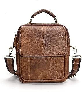 Mens Leather Bag Men's Shoulder Bags Business Portable Retro Diagonal Package Bag (Color : Brown, Size : S)