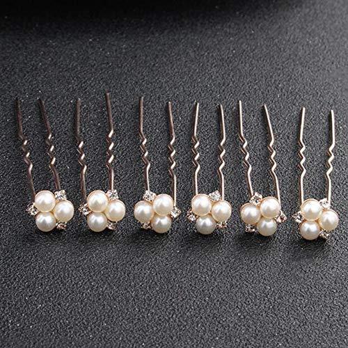 Anglacesmede Braut-Haarnadeln, Kristall-Haarnadel, Perlen-Bobby-Pins, Hochzeits-Kopfschmuck, Brautjungfer, Blumenmädchen, Haar-Accessoires für Frauen und Mädchen (Roségold)