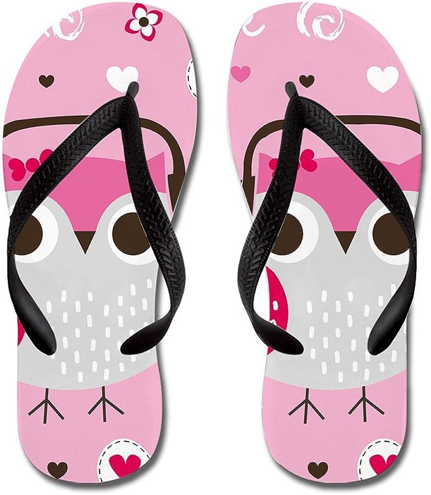 Lplpol Pink Owl Flip Flops for Adult Unisex and 5% OFF Kids Max 50% OFF