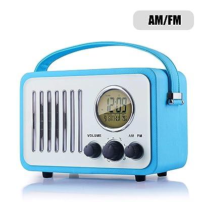 Retro AM/FM Radio, Portable Alarm Clock Radio w...