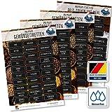 117 Gewürze Etiketten Aufkleber - eckig - weiß/schwarz - Gewürzetiketten Selbstklebend - Wasserfest - Gewürz Sticker 52 x 20 mm und 65 x 25 mm - für Gewürzgläser, Dosen und Regale - Edition XL