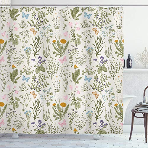 Ambesonne Floral Shower Curtain, Vintage Garden Plants with Herbs Flowers Botanical Classic Design, Cloth Fabric Bathroom Decor Set with Hooks, 70' Long, Pink Blue