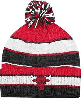 adidas Chicago Bulls NBA Striped Multi Color Pom Cuffed Knit Hat