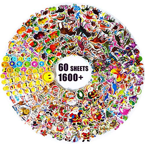 3D Stickers for Children,Kids Stickers 1600+ Puffy Stickers 60 Variety Sheets for Rewarding Gifts Scrapbooking Including Animals, Fish, Dinosaurs, Numbers, Fruits, Trucks, Airplane, and More